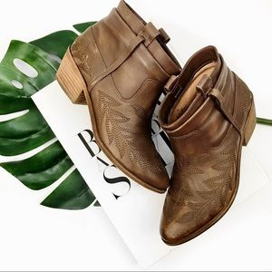 Joie embroidered distressed brown leather booties